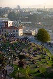 People Gathered at Jardim do Morro stock photo