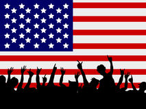 People gathering in front of USA flag Royalty Free Stock Photography