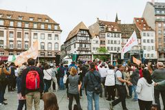 People gathering at the March for Jesus the annual interdenominational event in which Christians march. STRASBOURG, FRANCE - MAY 30, 2015: People gathering at Stock Image