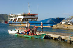 People gathering on a market jetty to see a fishing pirogue's catch Royalty Free Stock Photos