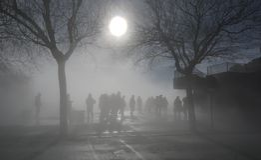 Heavy misty morning in Montserrat stock photos