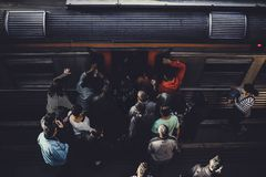 People Gathering Near Train Royalty Free Stock Images