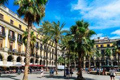 People Gathering In Royal Square Placa Reial or Plaza Real a Well-Known Tourist Attraction Of Barcelona. BARCELONA, SPAIN - AUGUST 05, 2016: People Gathering In Royalty Free Stock Images