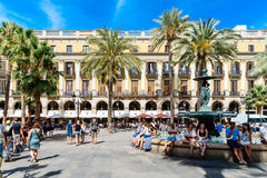 People Gathering In Royal Square Placa Reial or Plaza Real a Well-Known Tourist Attraction Of Barcelona. BARCELONA, SPAIN - AUGUST 05, 2016: People Gathering In Royalty Free Stock Photos