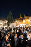 People gathering in solidarity with victims from Paris assaults Stock Photos
