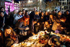 People gathering in solidarity with victims from Paris assaults Royalty Free Stock Images