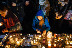 People gathering in solidarity with victims from Paris assaults Stock Image