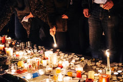 People gathering in solidarity with victims from Paris assaults Stock Photography