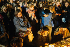 People gathering in solidarity with victims from Paris assaults Royalty Free Stock Image
