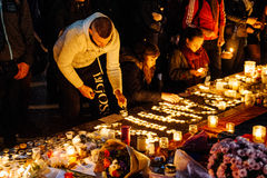 People gathering in solidarity with victims from Paris assaults Stock Photo