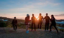 People Gathering during Sunset Royalty Free Stock Images