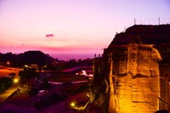 Gorgeous red purple sunset with the view of geological cliffs royalty free stock photos
