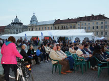 People gathering to watch live screening from the Romanian Opera House Cluj Royalty Free Stock Images