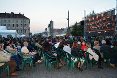 People gathering to watch live screening from the Romanian Opera House Cluj Royalty Free Stock Photo