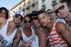 People at gay pride parade 2013 in Milan, Italy Stock Images