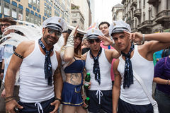 People at gay pride parade 2013 in Milan, Italy Stock Photo
