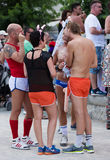 People at Gay pride parade in Sitges Stock Photos