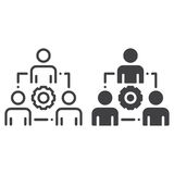People and gear line and solid icon Royalty Free Stock Photos