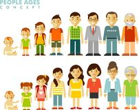 People generations at different ages in flat style Stock Photos