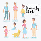 People generations at different ages. Man and woman aging - baby, child, young, adult, old people stock illustration