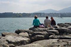 People at Geneva lake Stock Images