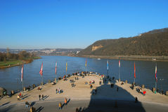 People at the German Corner. In Koblenz, Germany Royalty Free Stock Image