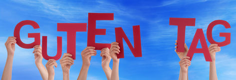 People German Word Guten Tag Means Good Day Sky Stock Image