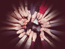 People get combined hands together. Group of many people putting hands together Royalty Free Stock Photography