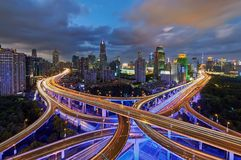 Perfect Blue Hour, Shanghai. People get off work and traffic start to get busy during the blue hour period in Shanghai Stock Image