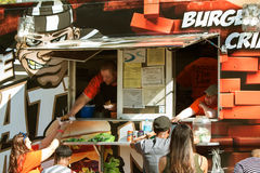 People Get Served At Atlanta Food Truck Festival Stock Image