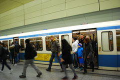 People getting off subway train in Munich,Germany Stock Image