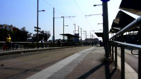 People getting off a tram, TiltShift, Barcelone stock footage