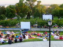 People getting ready to watch movie at capitol Hill in Salt Lake Royalty Free Stock Images