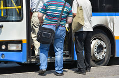 People getting in to the bus Royalty Free Stock Image