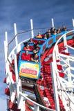 People on Giant Dipper roller coaster, Santa Cruz, California stock photo