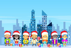 People Gift Box Present Shopping Winter City Stock Photography
