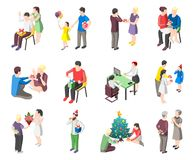 People With Gifts Isometric Icons Stock Image