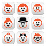 People with ginger  hair buttons set Royalty Free Stock Image