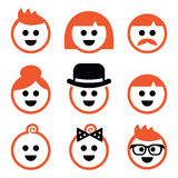 People with ginger  hair icons set Stock Image
