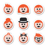 People with ginger  hair icons set Royalty Free Stock Photo