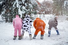 4 people, 2 girls and 2 mens in kigurumi in snow winter forest. Pajama costume pig cow kangaroo and cat. Fun with friends, walking.  stock photo