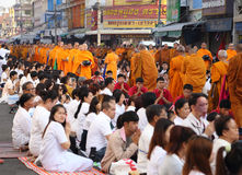 People give food offerings to 12,357 Buddhist monks Stock Image