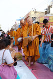 People give food offerings to monks Stock Images