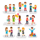 People give gifts, men and women do surprises, give gifts. Gifts vector flat illustration. Girl and boy present gift to another boy. Smiling people have fun Stock Images