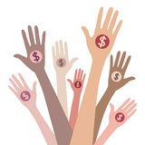 People giving money. Vector concept Stock Photos