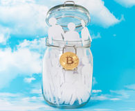 People in glass jars and Bitcoin Stock Image