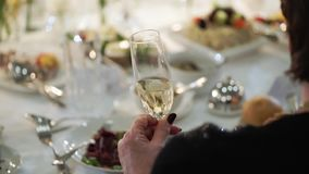 People with glasses of champagne staying at event stock video footage