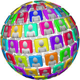 People in Global Social Network Sphere Royalty Free Stock Images