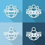 People with globe and book, education icons. Flat style.  Stock Image