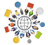 People with Globe Symbol and Speech Bubbles Royalty Free Stock Photos